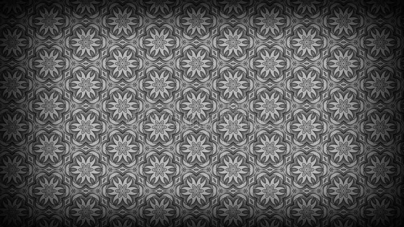 Schwarzes und Grey Flower Background Pattern stock abbildung
