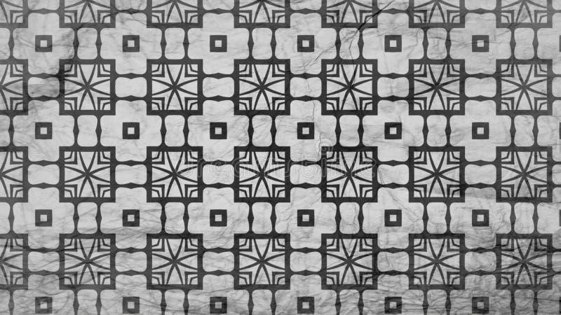 Schwarzes und Grey Geometric Ornament Background Pattern-Entwurfs-Schablone stock abbildung