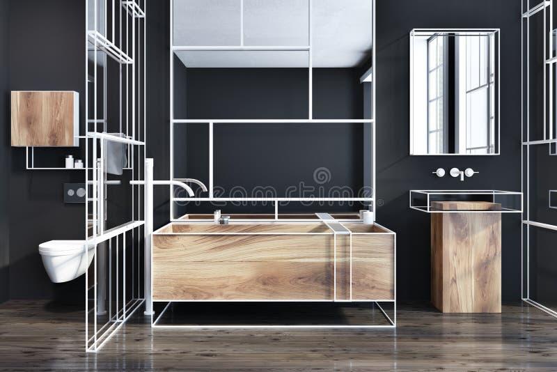 Schwarzes und hölzernes futuristisches Luxusbadezimmer stock abbildung