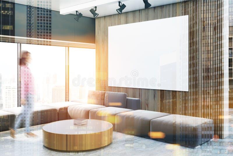 Schwarzes und hölzernes Wohnzimmer, Tabelle, Plakatunschärfe lizenzfreie abbildung
