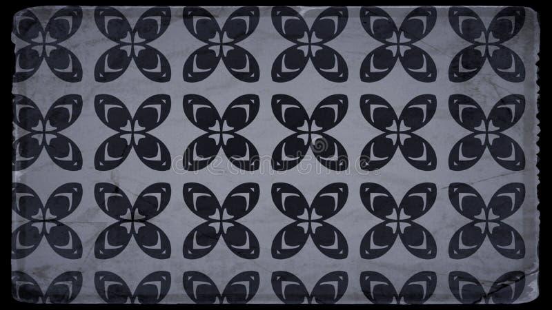 Schwarzes und Hintergrund Entwurf der grafischen Kunst der Gray Vintage Decorative Floral Pattern-Tapeten-Entwurfs-schöner elegan stock abbildung