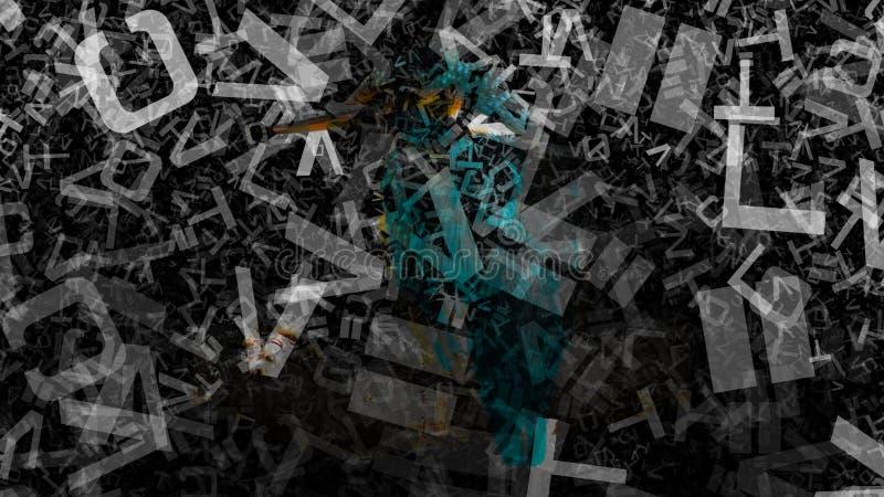 Schwarzes und Hintergrund Entwurf der grafischen Kunst der Grey Alphabet Letters Texture Background-Bild-schöner eleganter Illust stock abbildung