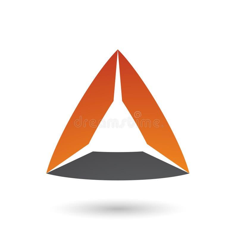 Schwarzes und orange Dreieck mit gebeugter Rand-Vektor-Illustration stock abbildung