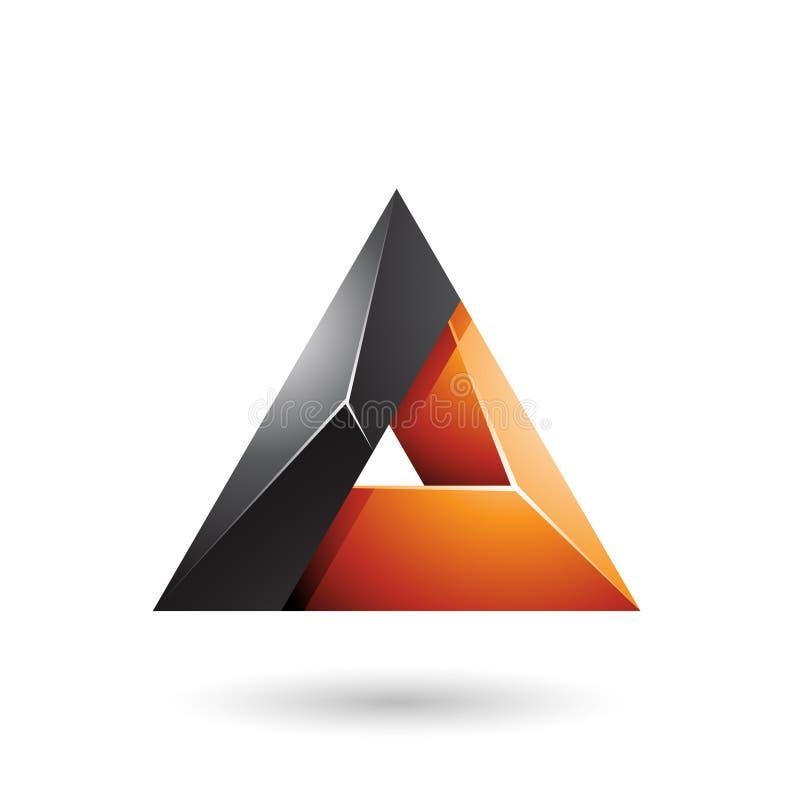 Schwarzes und orange glattes Dreieck 3d mit einer Loch-Vektor-Illustration vektor abbildung