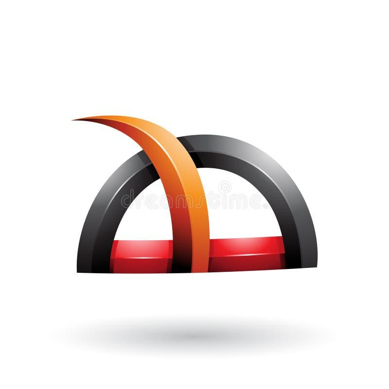 Schwarzes und orange glattes Gras wie stachelige Form lokalisiert auf einem weißen Hintergrund lizenzfreie abbildung