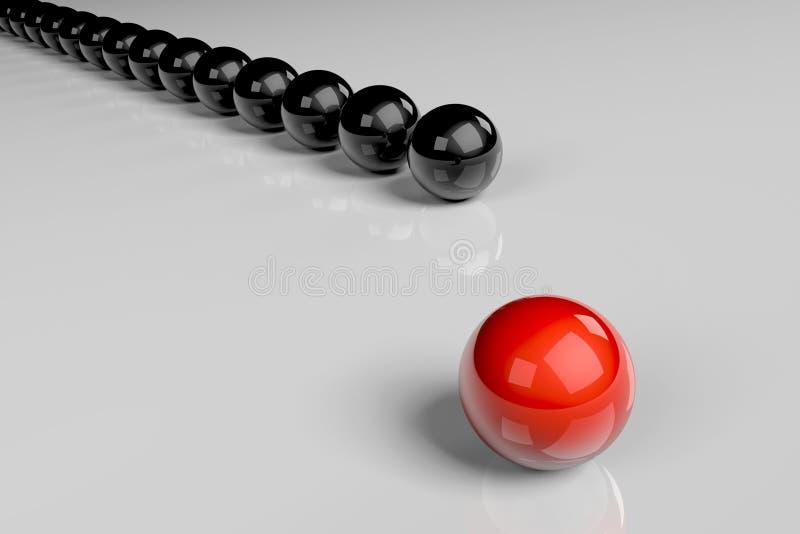 schwarzes und rotes Ballkonzept 3D lizenzfreies stockfoto