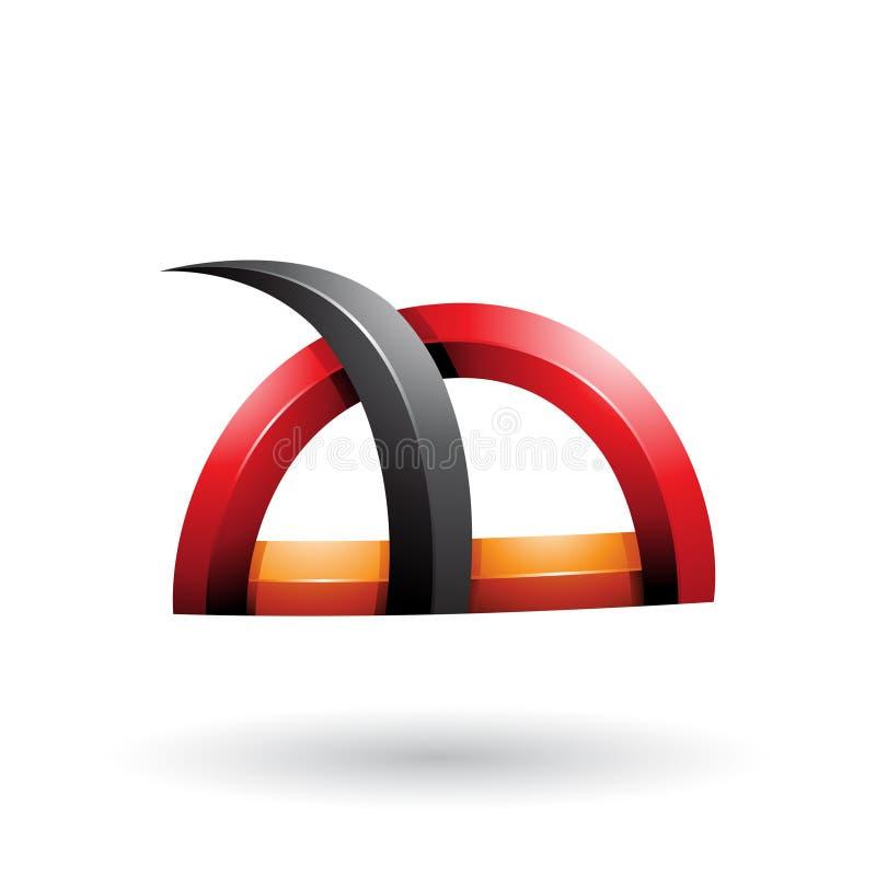 Schwarzes und rotes glattes Gras wie stachelige Form lokalisiert auf einem weißen Hintergrund stock abbildung