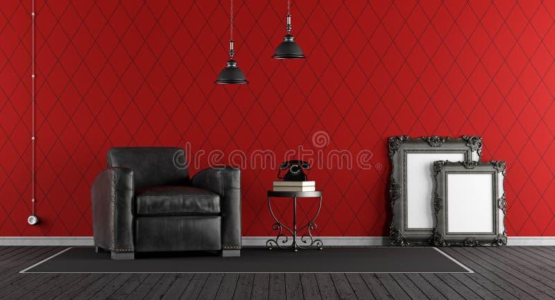 Schwarzes und rotes klassisches Wohnzimmer stock abbildung