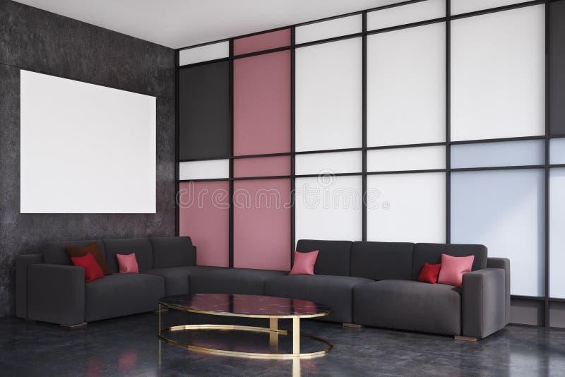 Schwarzes und rotes Wohnzimmer, Seitenansicht lizenzfreie abbildung