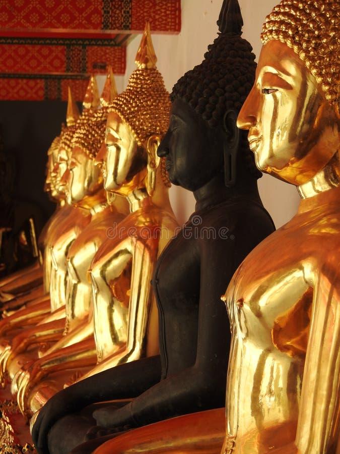 Schwarzes unter goldenem Buddhas lizenzfreies stockbild