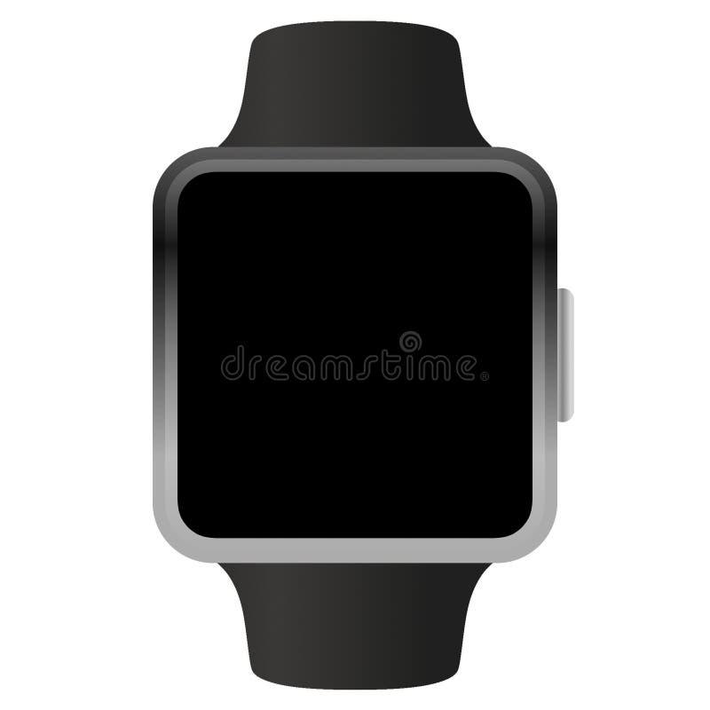 Schwarzes Vektor-Konzept-Modell der Apple Watch isoliert auf weiß lizenzfreie abbildung