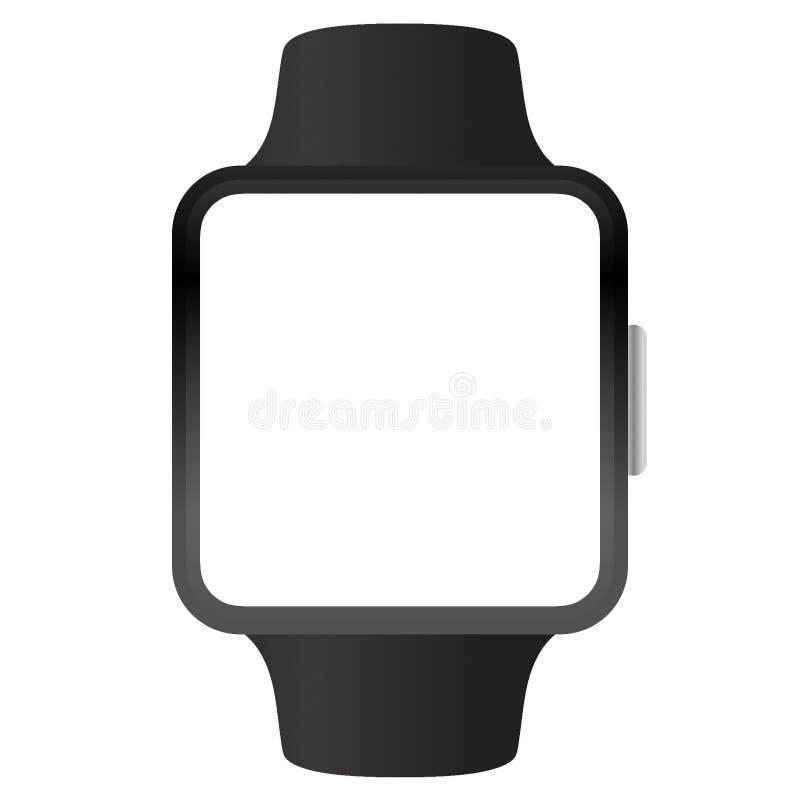 Schwarzes Vektor-Konzept-Modell der Apple Watch isoliert auf weiß vektor abbildung