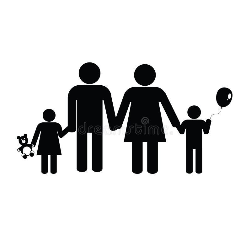 Schwarzes Vektorschattenbild der Familie vektor abbildung