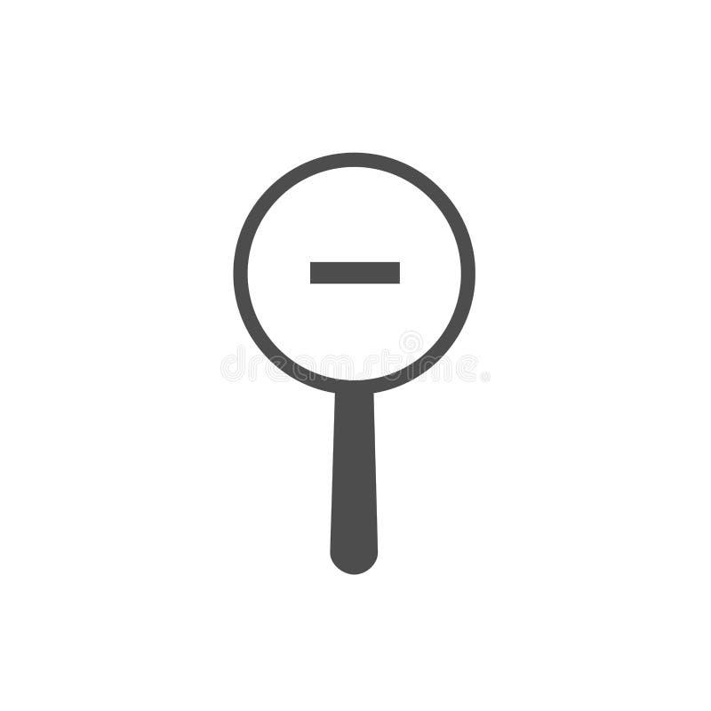 Schwarzes Vergrößerungsglas mit dem Minuszeichen lokalisiert auf Weiß Lupenikone Zoom heraus knöpfen für Webseiten lizenzfreie abbildung