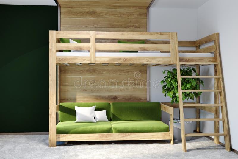 Schwarzes Wandschlafzimmer Innen, grünes Hochbett lizenzfreie abbildung