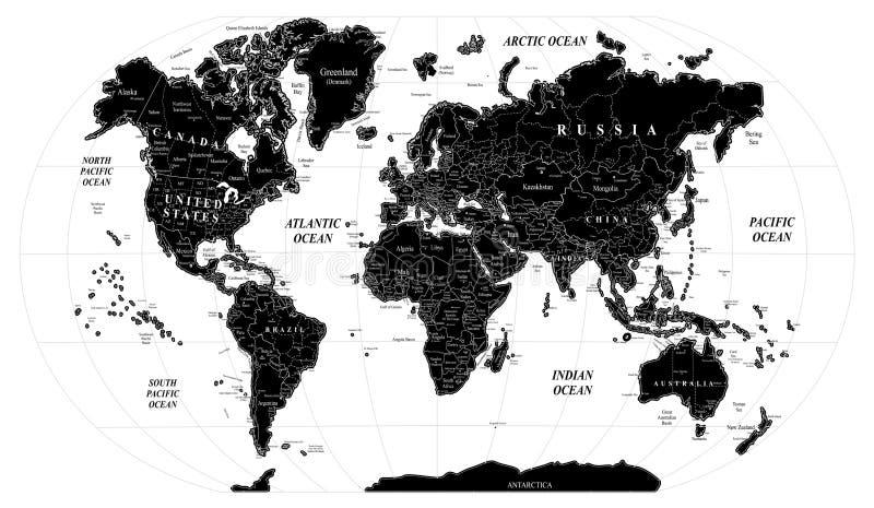 Schwarzes Weiß der Karte lizenzfreie abbildung