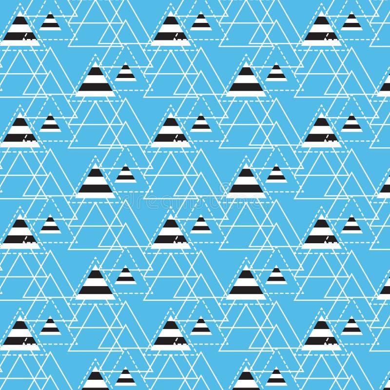 Schwarzes Weiß gestreift im Dreieck mit linearem und punktiertem Dreieck lizenzfreie abbildung