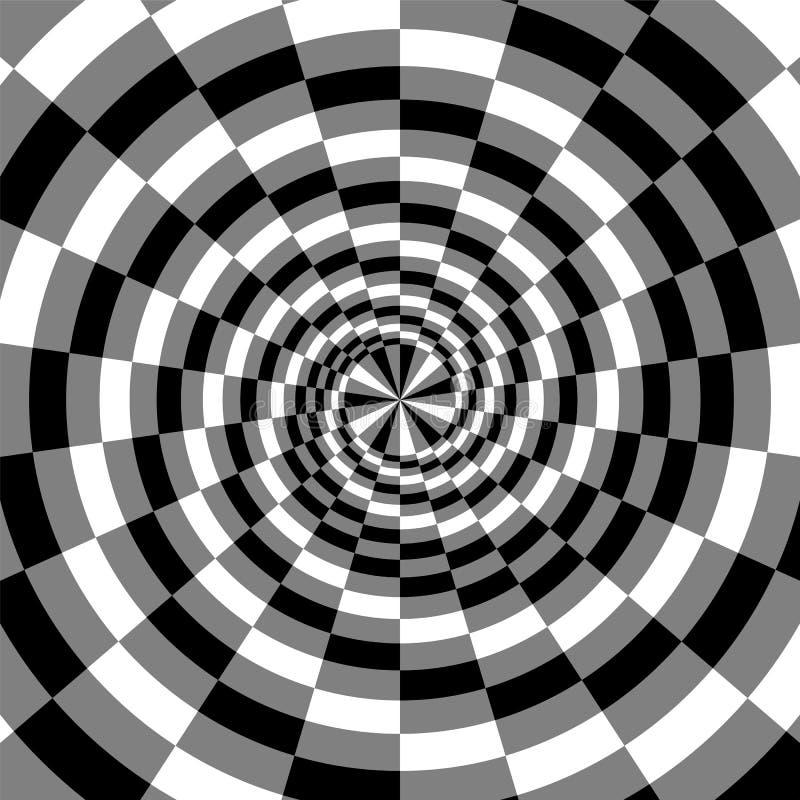 Schwarzes, Weiß und Grey Spirals der Rechteck-Radialerweiterung von der Mitte Optische Täuschung der Tiefe und des Volumens lizenzfreie abbildung