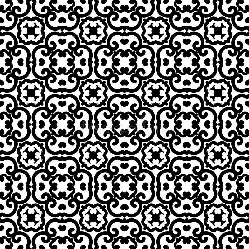 Schwarzes weißes Quadrat wirbelt nahtloser Hintergrund lizenzfreie abbildung