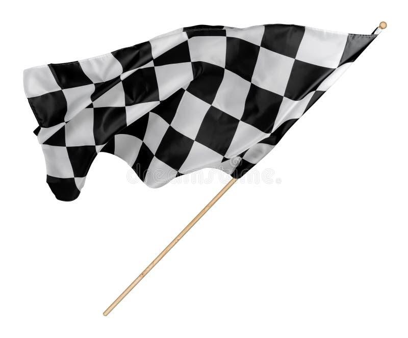 Schwarzes weißes Rennen kariert oder Zielflagge mit hölzerner Stock lokalisiertem Hintergrund laufendes Symbolkonzept des Motorsp lizenzfreies stockbild