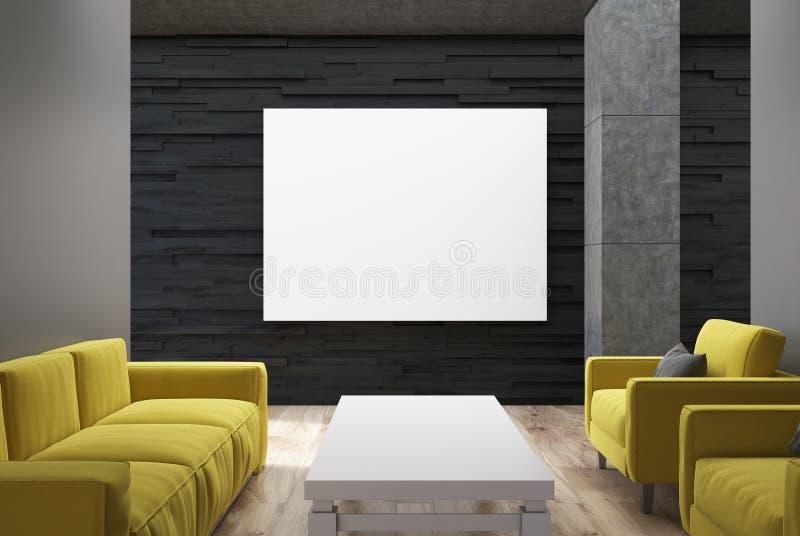 Schwarzes Wohnzimmer, gelbe Sofas, Plakat stock abbildung