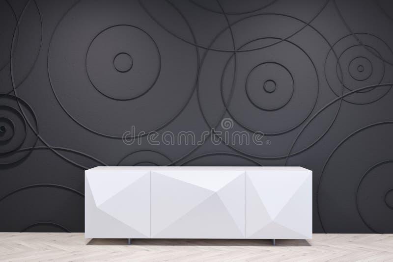 Schwarzes Wohnzimmer mit einem weißen Kabinett stock abbildung