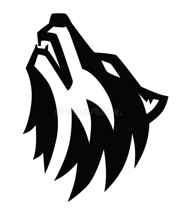 Schwarzes Wolfheulenemblem lizenzfreie abbildung