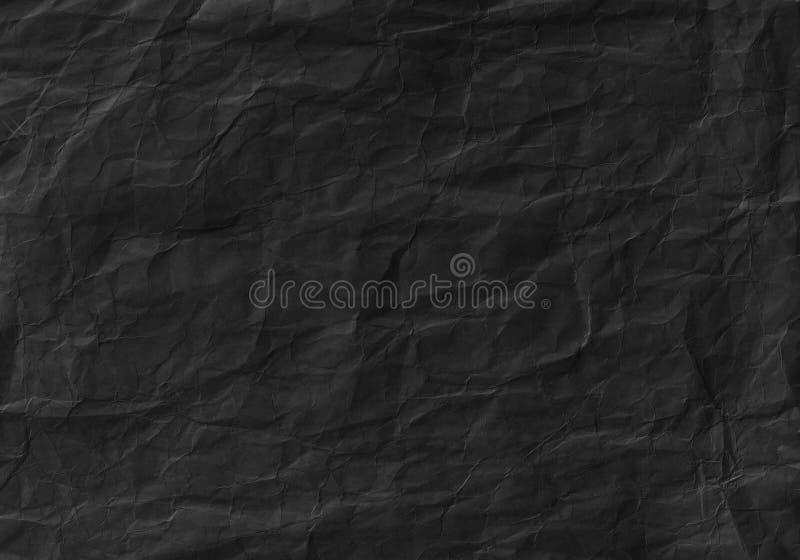 Schwarzes zerknitterte Papierbeschaffenheit Hintergrund und Tapete stockbild