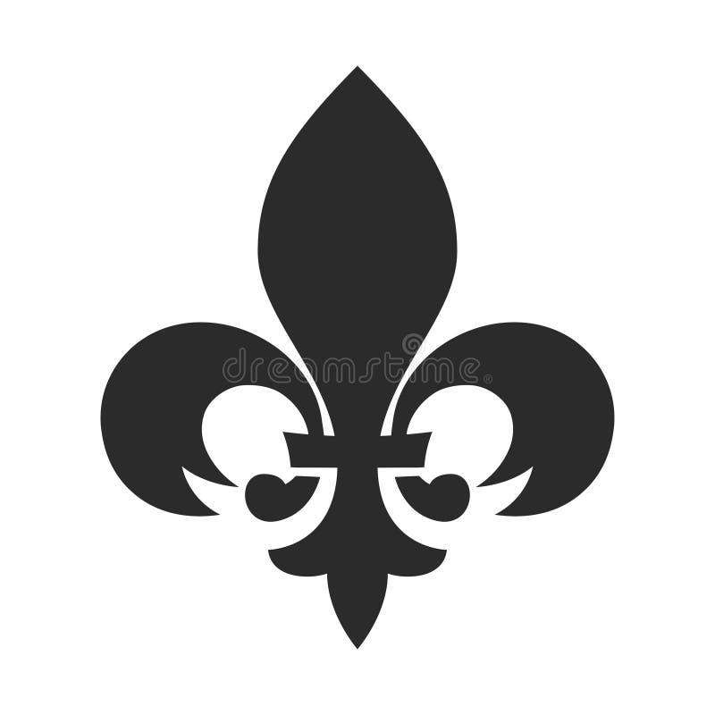 Schwarzikone Fleur de Lis, klassische Weinleseverzierung vektor abbildung