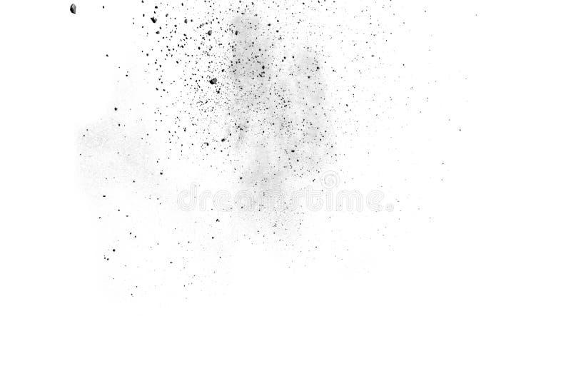 Schwarzpulver splatted auf weißem Hintergrund stockbild