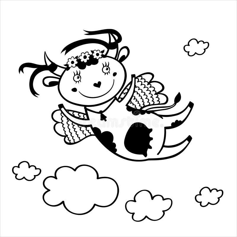 Schwarzweißabbildung des Fliegens der lustigen Kuh im Himmel mit Wolken lizenzfreie abbildung
