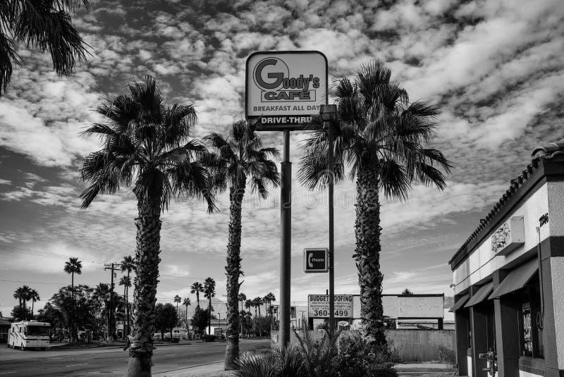 Schwarzweißbild Tausende Palmen, CA lizenzfreie stockfotos