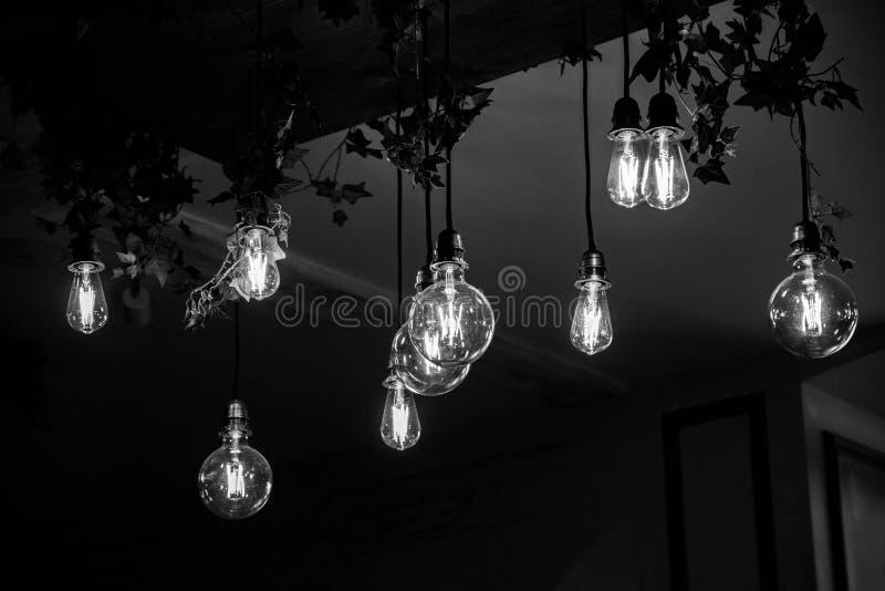 Schwarzweißfotografie von verschiedenen geformten Glasglühlampen mit glühenden Fäden nach innen Deckenleuchternahaufnahme lizenzfreie stockfotos