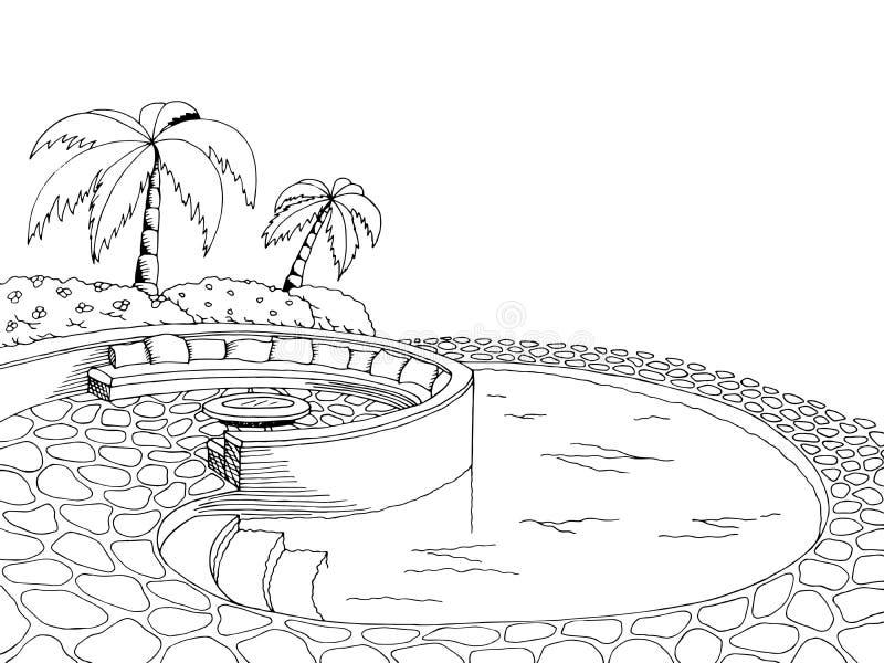 Schwarzweißillustration der grafischen Kunst des Swimmingpools vektor abbildung