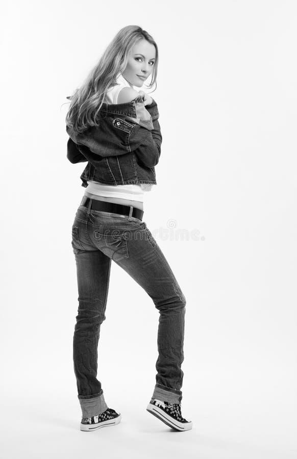 Schwarzweiss-Abbildung einer Frau lizenzfreies stockbild