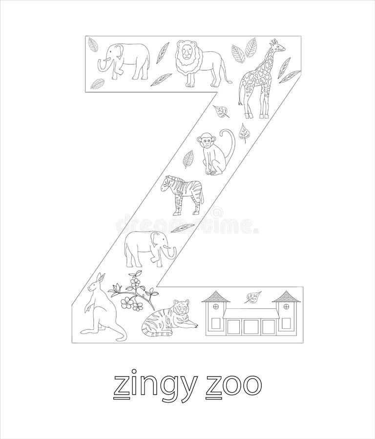 Schwarzweiss-Alphabetbuchstabe Z ABC-flashcard stock abbildung