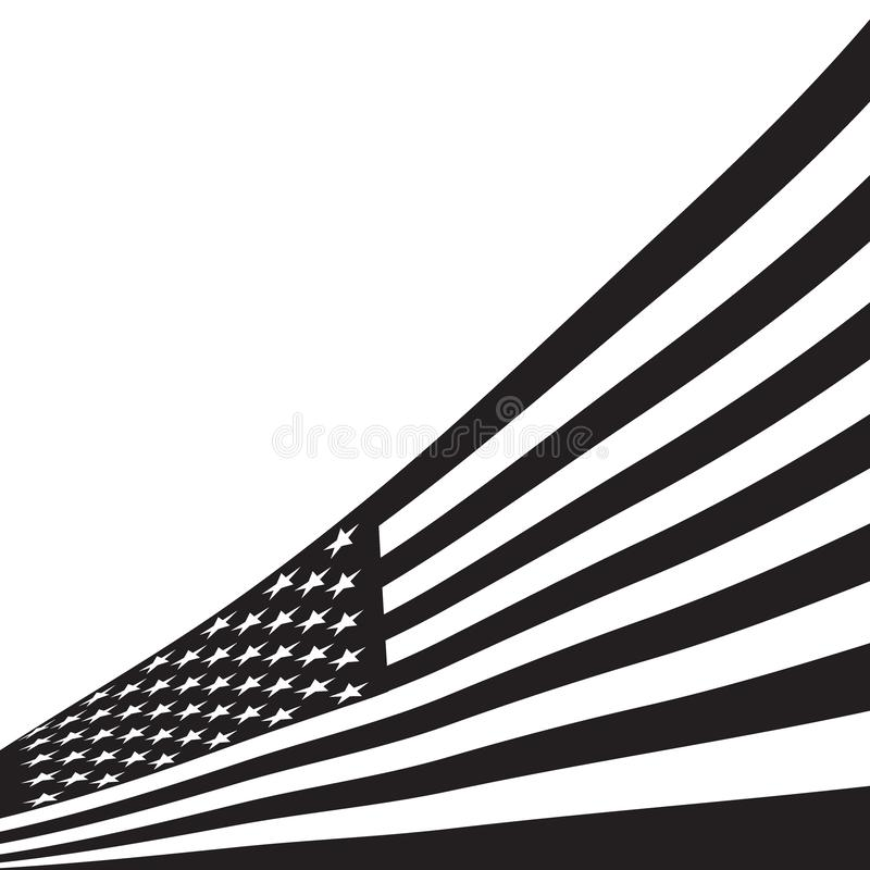 Schwarzweiss-amerikanische Flagge vektor abbildung
