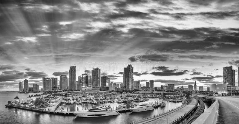 Schwarzweiss-Ansicht von im Stadtzentrum gelegenem Miami Panoramischer Schuss vom Hafen stockbilder