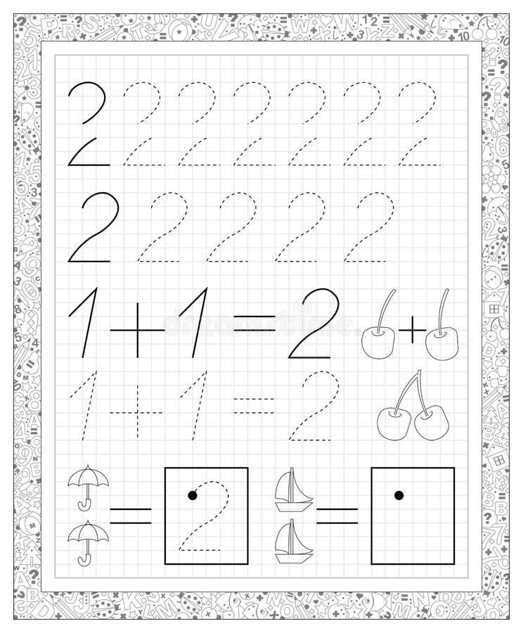Schwarzweiss-Arbeitsblatt Auf Einem Quadratischen Papier Mit Übungen ...