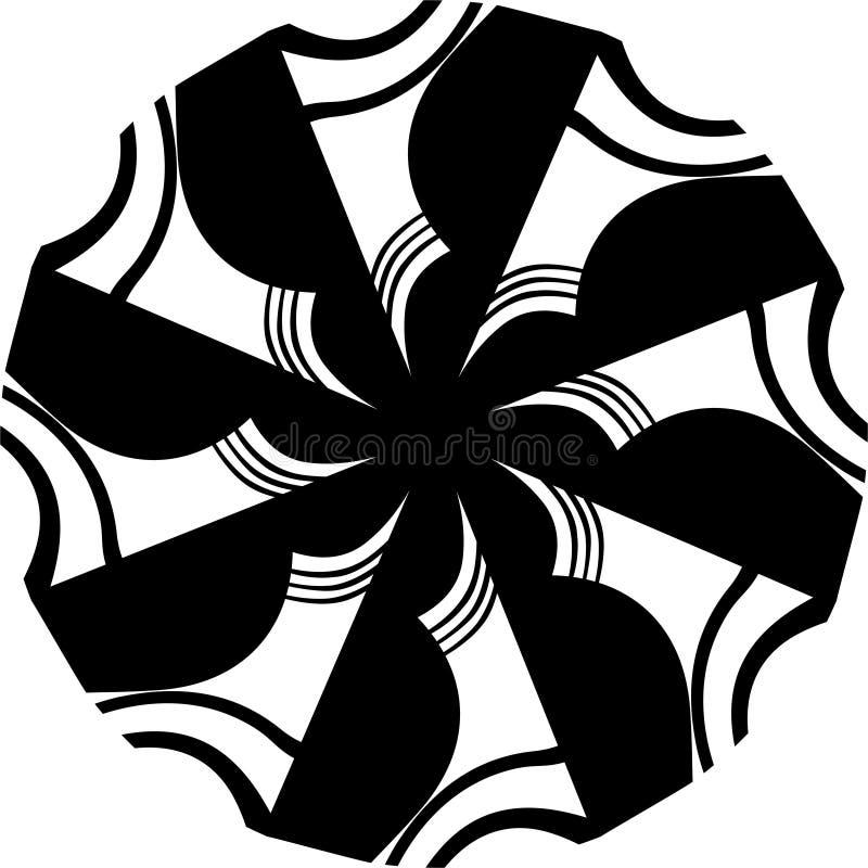 Schwarzweiss-Ausflussrohr Kunst Mandala Illustration Gewunden, Vektor lizenzfreie abbildung