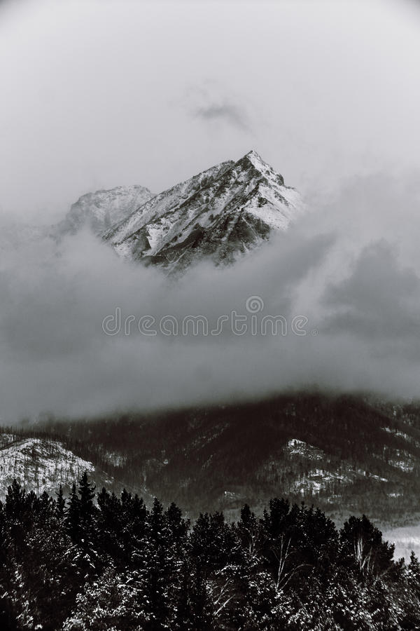 Schwarzweiss-Berge im Winter lizenzfreie stockbilder