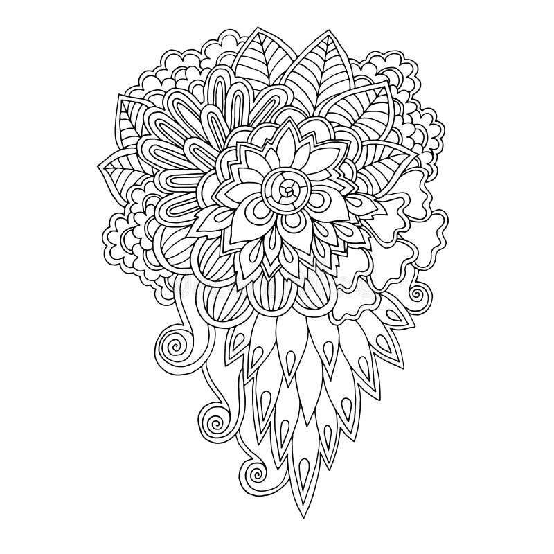Schwarzweiss-Blumengekritzelmuster im Vektor Hennastrauchpaisley-mehndi Gekritzel entwerfen Stammes- Gestaltungselement lizenzfreie abbildung