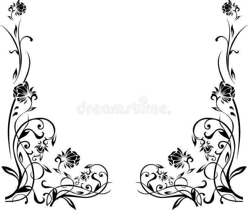 Schwarzweiss-Blumengrenze vektor abbildung