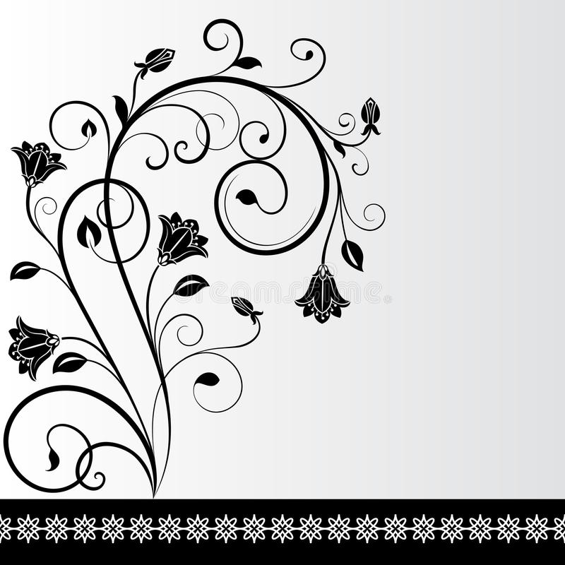 Schwarzweiss-Blumenkarte vektor abbildung