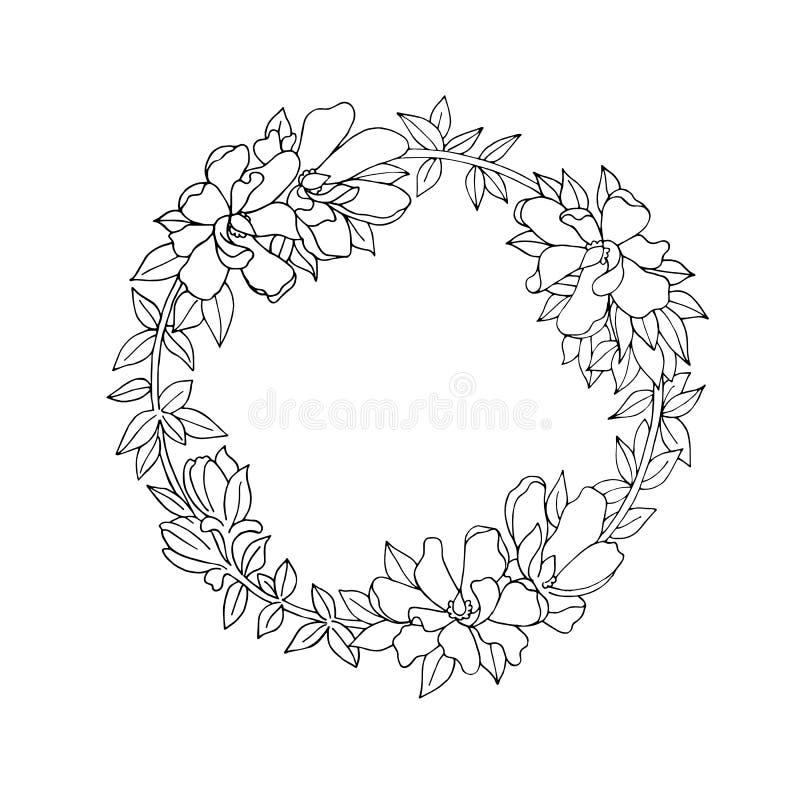 Schwarzweiss-Blumenkranz vektor abbildung