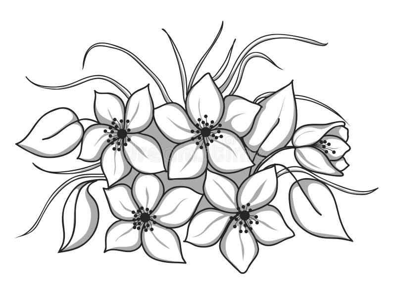 Schwarzweiss-Blumenstrauß Von Blumen Mit Blättern Und Gras Vektor ...