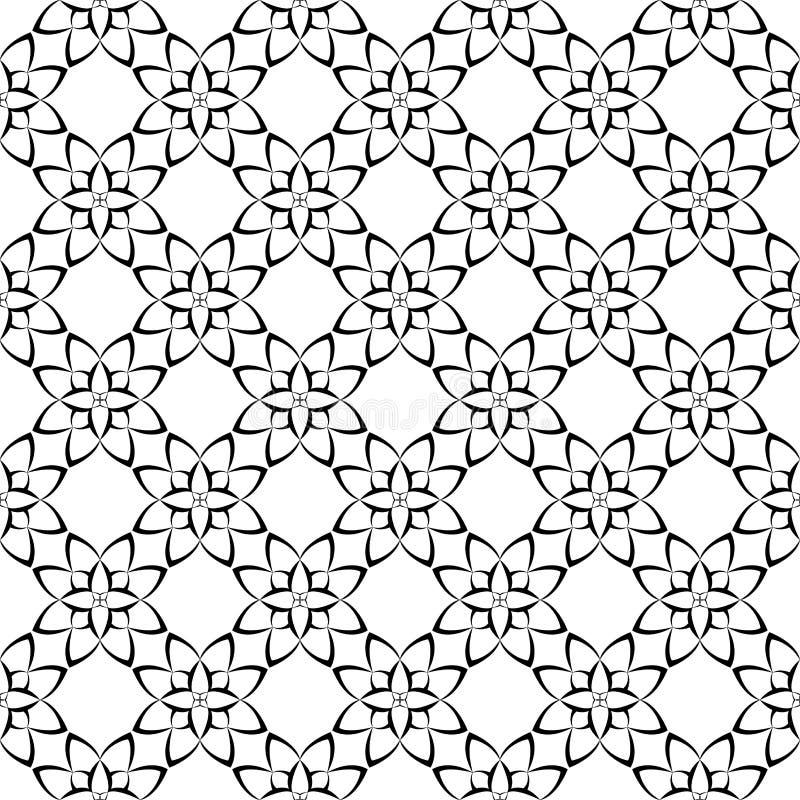 Schwarzweiss-Blumenverzierungen Nahtloses Muster stock abbildung