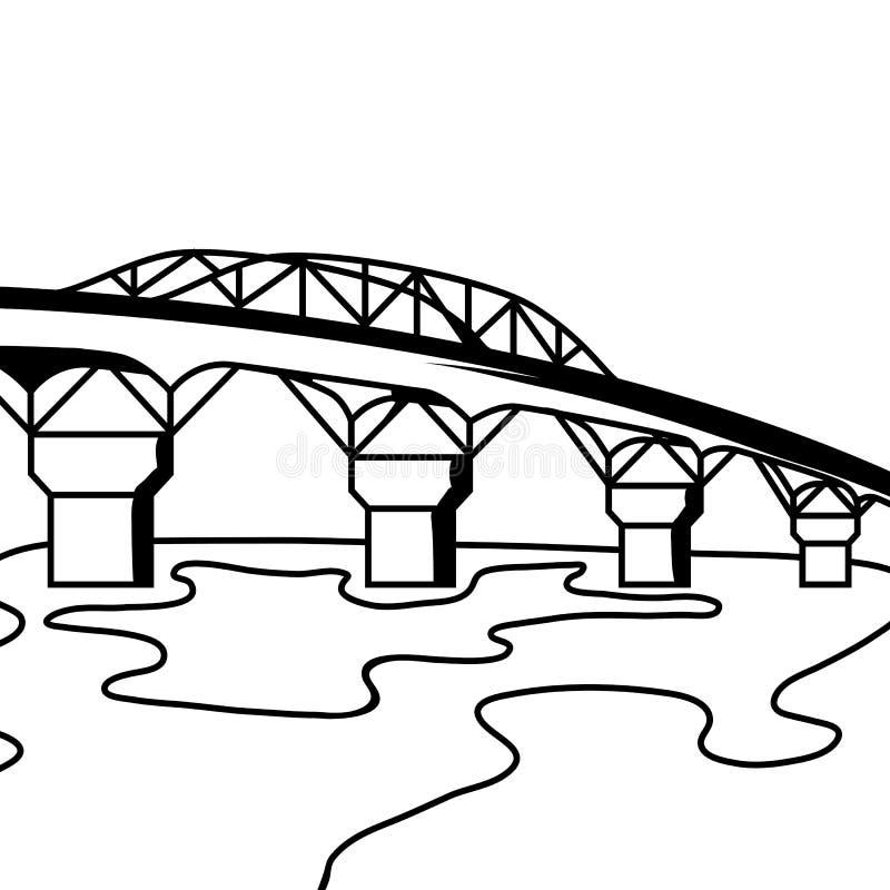 Schwarzweiss-Brücke stock abbildung