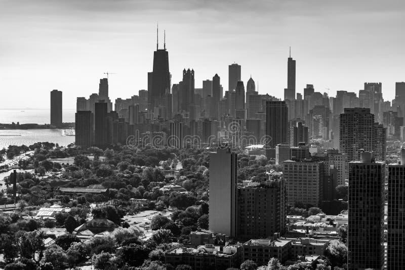 Schwarzweiss--Chicago-Skyline angesehen von Lincoln Park lizenzfreies stockbild