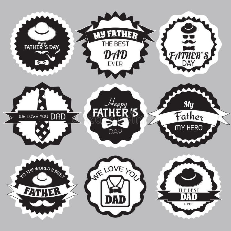 Schwarzweiss-Design-Sammlung Glücklicher Vatertag stock abbildung